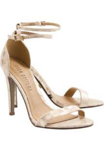 Sandália Lança Perfume Estampada Feminina - Feminino-Dourado