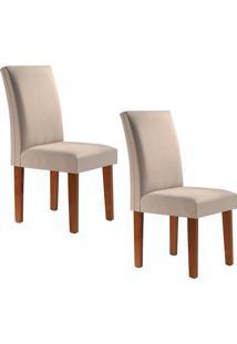 Conjunto Com 2 Cadeiras Classic Chocolate E Linho