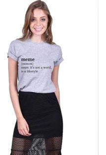 Camiseta Joss Feminina Estampada Meme - Feminino-Mescla