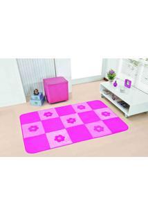 Tapete Antiderrapante Passadeira Margaridas Pink 1,30X0,90 Guga Tapetes