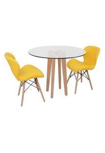 Conjunto Mesa De Jantar Em Vidro 90Cm Com Base Vértice + 2 Cadeiras Slim - Amarelo