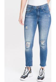 Calça Jeans Feminina Five Pockets Slim Cintura Alta Azul Médio Calvin Klein - 34