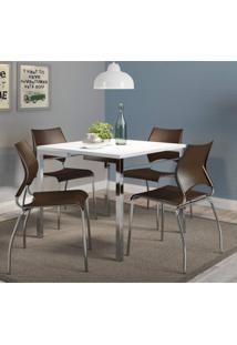 Conjunto Sala De Jantar Mesa August E 4 Cadeiras Siena Móveis Branco/Cacau