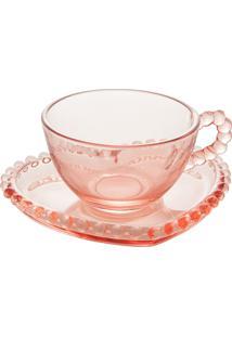 Conjunto 4 Xícaras Chá Cristal Com Pires Coração Pearl Rosa 180Ml