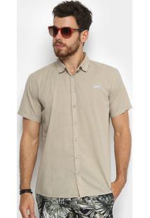 Camisa Colcci Slim Manga Curta Masculina - Masculino-Cáqui