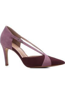 Scarpin Couro Shoestock Salto Alto Bico Fino Tiras Bicolor - Feminino-Vinho