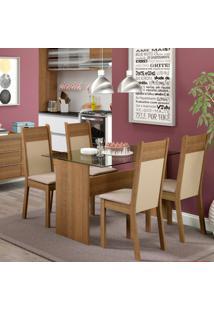 Conjunto De Mesa Com 4 Cadeiras De Jantar Marina Linho Rústico Pérola