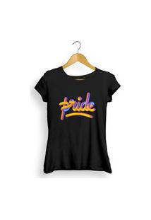 Camiseta Pride Preta Feminina Multicolorido