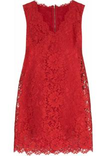 Dolce & Gabbana Vestido Reto De Renda - Vermelho