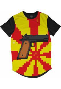 Camiseta Insane 10 Longline Pistola Pixelada Sublimada Preto Vermelh