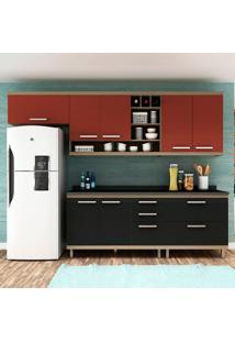 Cozinha Compacta New Vitoria 11 Avelã Tx/Onix/Rubi - Hecol