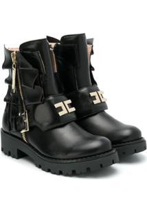 Elisabetta Franchi La Mia Bambina Ankle Boot De Couro Com Logo - Preto