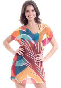 Blusa 101 Resort Wear Tunica Decote V Crepe Estampa Folhas Geométricas Multicolorida