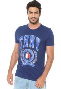 Camiseta Tommy Hilfiger Estampada Azul-Marinho