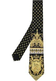 Versace Gravata Com Estampa Barroco - Preto