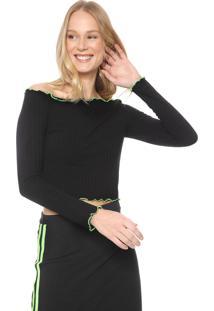 Blusa Cropped Fiveblu Ombro A Ombro Neon Preta/Verde