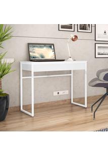 Mesa Para Computador Com 1 Gaveta Brisa-Brastubo - Branco / Branco