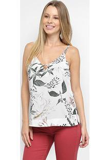 Blusa Maria Filó Floral Alcinha Feminina - Feminino-Branco+Verde Água