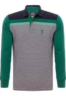 Camisa Polo Aleatory Listrada Manga Longa Brave Masculina - Masculino-Verde