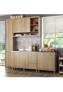 Cozinha Completa Com Balcão Sem Tampo E Paneleiro 4 Peças 8 Portas Sicília Multimóveis Argila