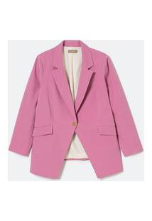 Blazer Alongado Alfaiataria Com Botão Dourado Curve & Plus Size   Ashua Curve E Plus Size   Rosa   52