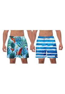 Kit 2 Shorts Moda Praia Azul Primavera Samambaia Floral Estampado Listras Azuis Poliéster Elastano Banho W2