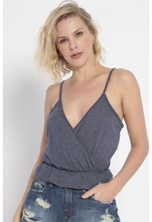 Blusa Com Elástico- Azul Marinho- Colccicolcci