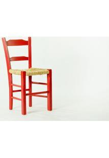 Cadeira De Palha Vermelha Pestre - Cadeira De Madeira E Palha/Palhinha - 40X41X82,5 Cm