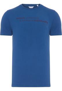 Camiseta Masculina Slim Estampada - Azul