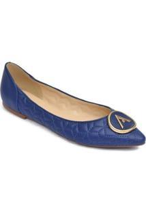 Sapatilha Bico Fino Feminina Couro Metal Casual Conforto - Feminino-Azul