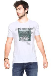 Camiseta Calvin Klein Jeans Quadrado Logo Branca