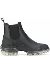 Moncler Ankle Boot Com Solado Translúcido - Preto