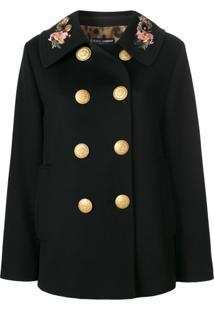 Dolce & Gabbana Casaco Militar Com Bordado - Preto