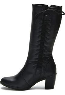 Bota Atron Shoes Trançada Cadarço - Feminino-Preto