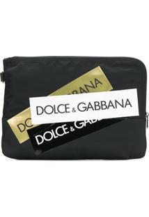 Dolce & Gabbana Multiple Logo Stripe Clutch - Preto
