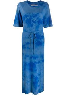 Raquel Allegra Vestido Com Cinto E Estampa Tie-Dye - Azul