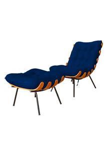 Combo Poltrona Decorativa Mais Puff Costela Suede Azul Marinho - Ds Estofados