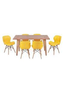 Conjunto Mesa De Jantar Em Madeira 150X80 Vértice + 6 Cadeiras Slim - Amarelo