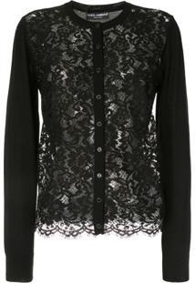 Dolce & Gabbana Cardigan Com Renda - Preto