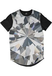 Camiseta Bsc Longline Diamante Brilhante Sublimada Preta Branca