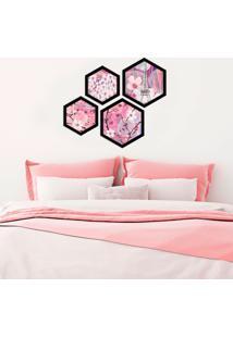 Kit 4 Quadros Com Moldura Hexagonal Paris Modern Pink