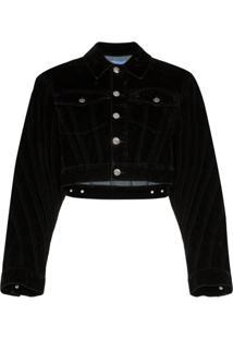 Mugler Velvet Cropped Denim Jacket - Preto