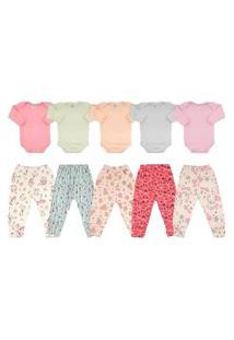 Kit C/ 10 Roupas Enxoval Bebê Maternidade Feminino Menina Rosa