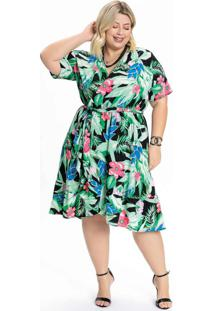 Vestido Plus Size Floral Big Transpassado