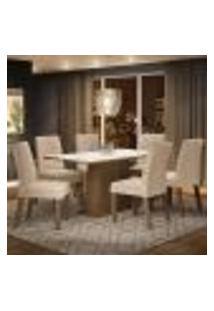 Conjunto Sala De Jantar Madesa Luciana Mesa Tampo De Madeira Com 6 Cadeiras - Rustic/Branco/Imperial