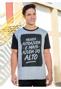 Camiseta Masculina Mescla Com Estampa Lettering