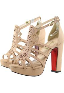 Sandália Week Shoes Salto Grosso Corte Laser Nude