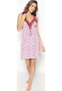 Camisola Floral Com Renda- Branca & Rosa- Jogãªjogãª