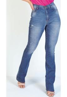 Calça Jeans Boot Cut Com Puídos Sawary
