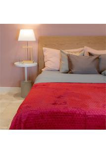 Cobertor De Casal Cozy Grid Marsala 180X220Cm